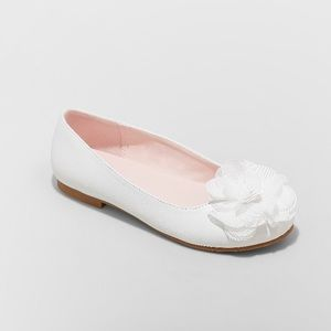 Girls White Flat Nina Ballet Rhinestone Flower NWT
